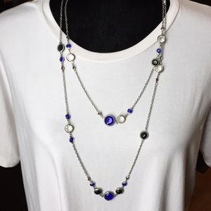 Long Sapphire, Black and Crystal Tone Necklace